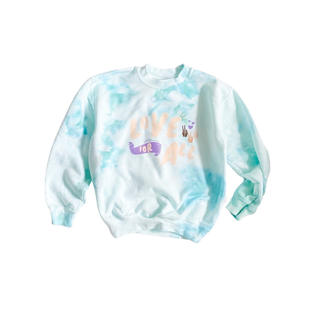 Love For All Tie Dye Mint Kids Crewneck Sweater