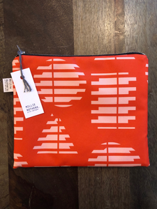 Red 'Shapes' print pouch