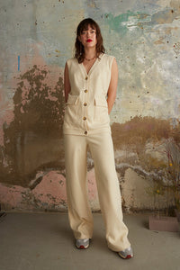 Cream ribbed trousers