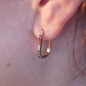 Rainbow rectangular hoop earrings
