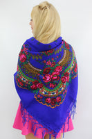 Traditional Ukrainian Woolen scarf with flowers