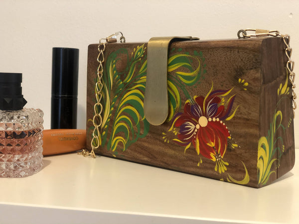 Stylish Wooden Clutch Purse Petrykivka hand painted