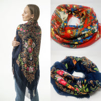 Large woolen scarfs with folk ornaments