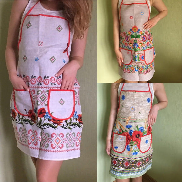 Linen Aprons & Towels with Ukrainian embroidery print