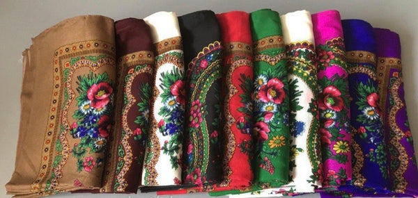Traditional Ukrainian Floral Shawl / Scarf