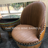 Striped Brown Barrel Chair - Discontinued CLEARANCE