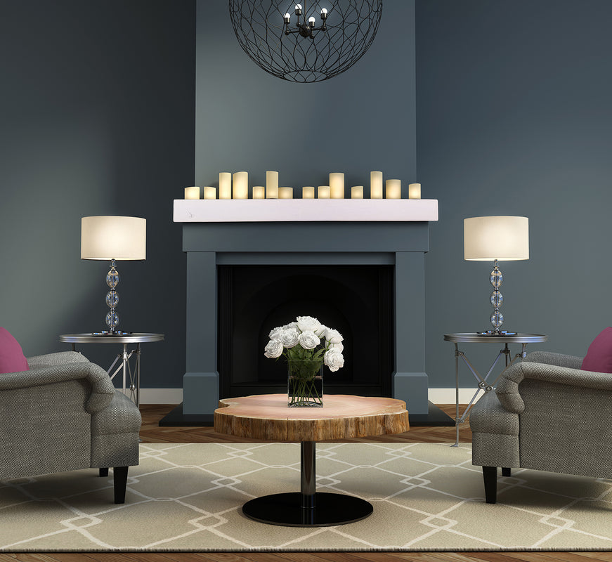 French white Bellevue non-combustible fireplace mantel in dark grey traditional living room