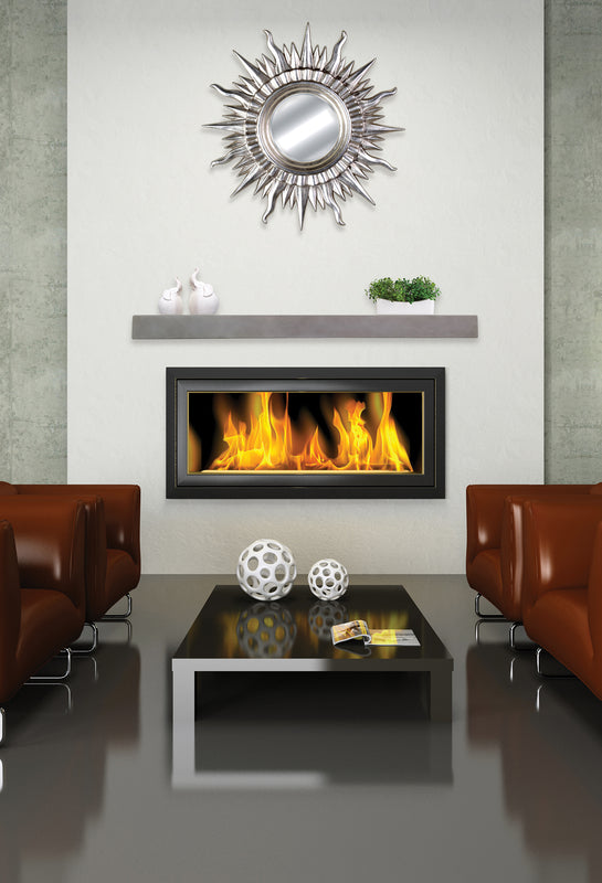 Urban Stone Grey non-combustible fireplace mantel over fireplace in a contemporary living room