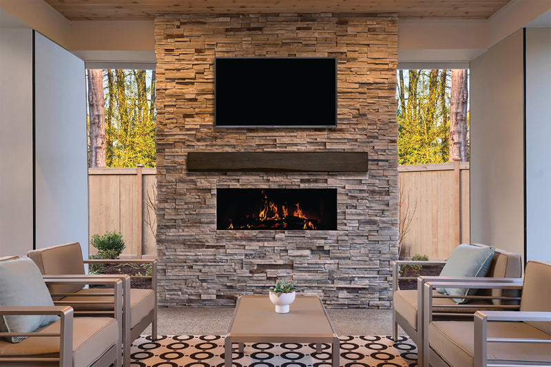 Fireplace Mantel Beam in outdoor living room