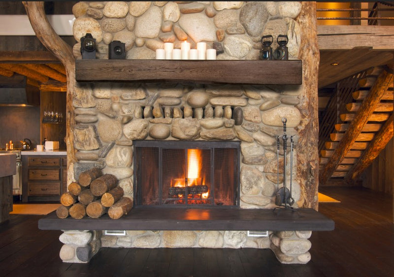 Fireplace Mantel Beam over rustic fireplace