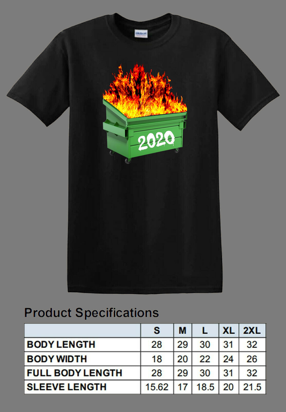 black dumpster fire 2020 shirt full color