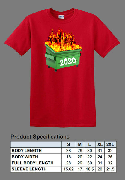 red dumpster fire 2020 shirt full color