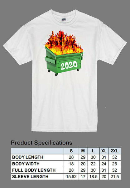 white dumpster fire 2020 shirt full color