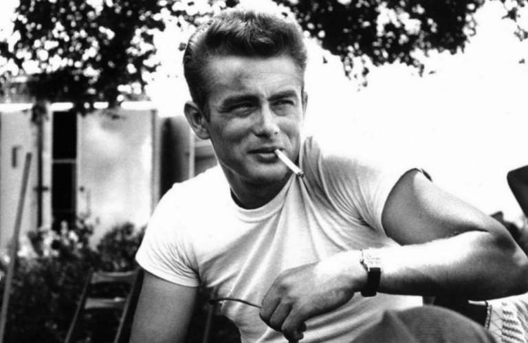 James Dean in a basic white T on the set of