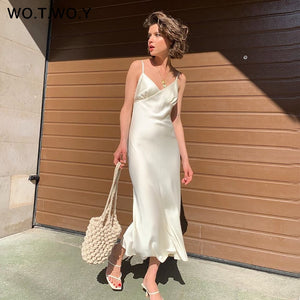 WOTWOY Sexy V-neck Sleeveless Dresses Women Spaghetti Strap Mid-Calf Sheath Party Dresses Femme Clothes Women Summer 2020 New