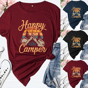Happy Camper T Shirt For Women Funny Cute Graphic Short Sleeve Letter Print Casual Tee Shirt Mountain Femme Ladies Clothes