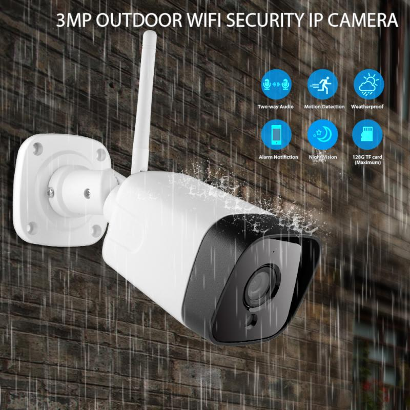 HD WiFi IP Camera Bullet Waterproof Outdoor Indoor Security 2-Way Surveillance Camera Flashing Red LED Night Vision