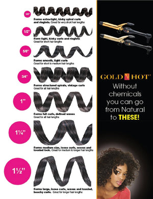 Gold-N-Hot Professional 24K Gold Spring Curling Iron 1 1/4""