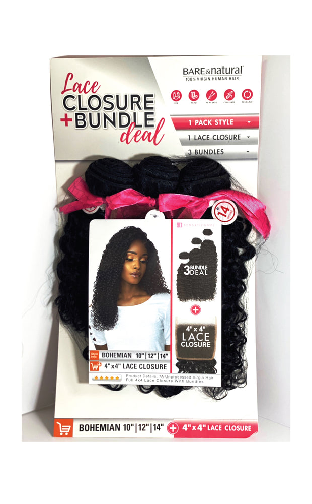 Load image into Gallery viewer, LACE CLOSURE BUNDLE DEAL BOHEMIAN 4X4