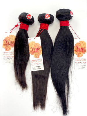 "VINE STRAIGHT BUNDLE 3PK + FULL LACE (13X4) 10/12/14"" - 20/22/24"""