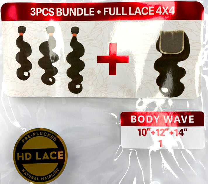 "Load image into Gallery viewer, VINE BODY WAVE BUNDLE 3PK + FULL LACE (4X4) 10/12/14"" - 20/22/24"""