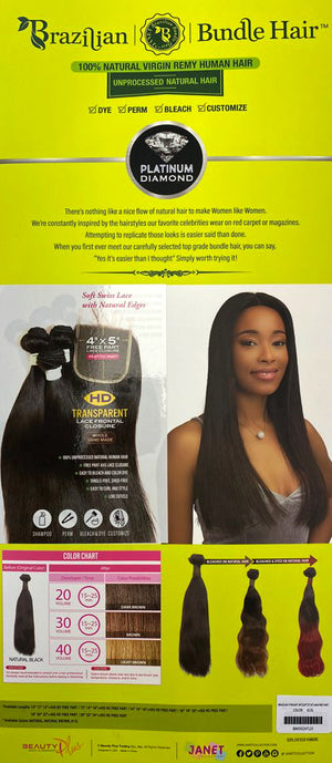 "BRAZILIAN STRAIGHT 3PCS + 4X4 FREE PART 10/12/14"" - 18/20/22"""