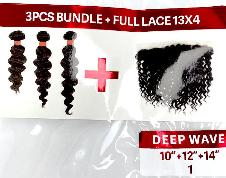 "VINE DEEP WAVE BUNDLE 3PK + FULL LACE (13X4) 10/12/14"" - 20/22/24"""