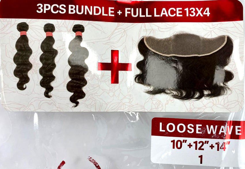 "VINE LOOSE WAVE BUNDLE 3PK + FULL LACE (13X4) 10/12/14"" - 20/22/24"""