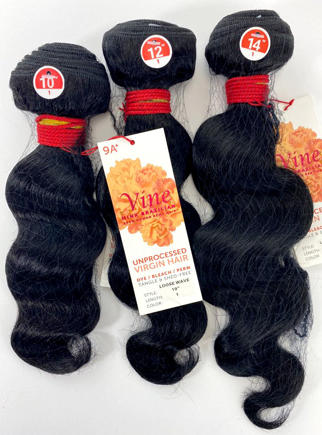 "Load image into Gallery viewer, VINE LOOSE WAVE BUNDLE 3PK + FULL LACE (4X4) 10/12/14"" - 20/22/24"""