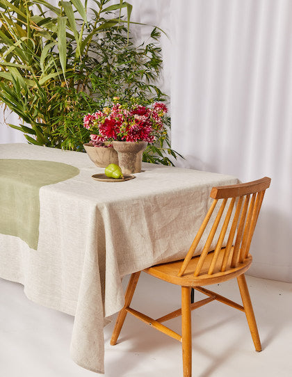 The Vallentine Project hand painted tablecloth in Sage