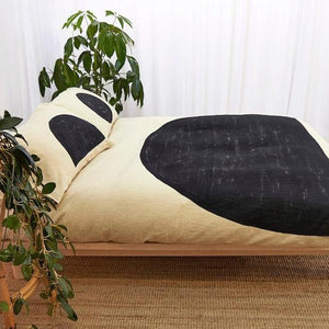 Charcoal Half Moon Doona Luxury Linen Duvet Set