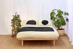 Black Eclipse and Half Moon Natural Pillowcase set