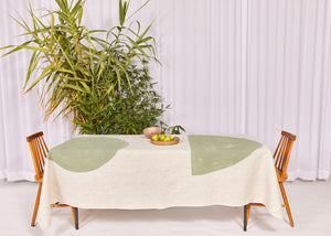 Bauhaus Linen Tablecloth in Sage
