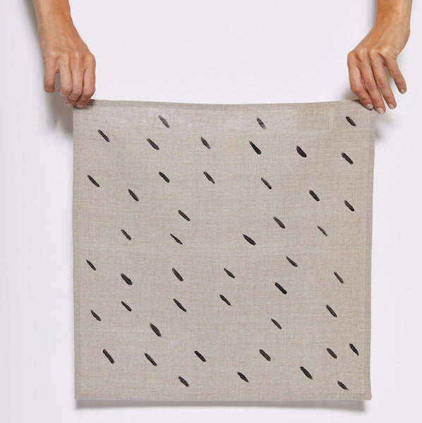 Linen Napkin with Black Dashes