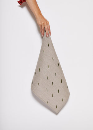 Linen Napkin with Olive Dashes