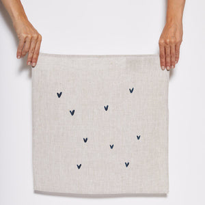 Linen Napkin with Blue Hearts