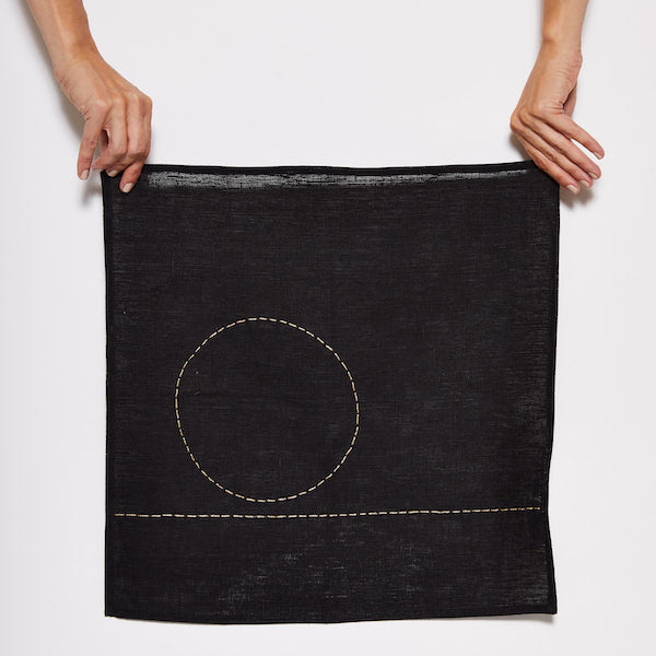 Moon is Rising Black Linen Napkin