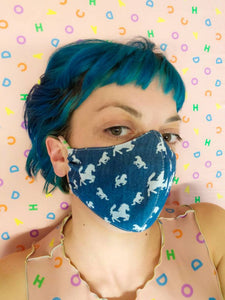 Horse Motif Chambray Face Mask