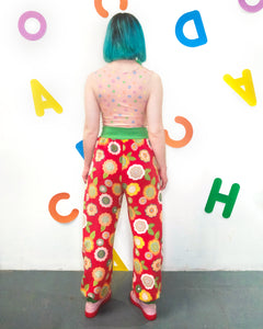 Fleecy Slouch Pants in Red Pop Floral