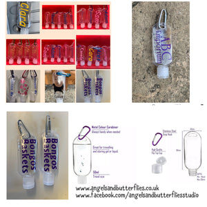 Personalised Clip on Sanitiser Bottles from Angels and Butterflies