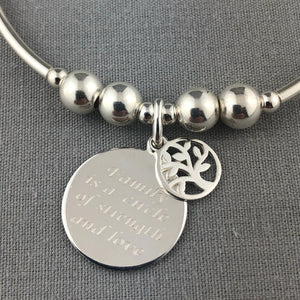 'Family' Sterling Silver Hand-made Women's Stacking Charm Bracelet