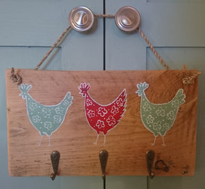 """Chooks with Hooks"" key tidy or tea towel holder by Primrose Cottage Designs"