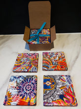 Load image into Gallery viewer, Decorative Ceramic Coasters made from Recycled Tiles