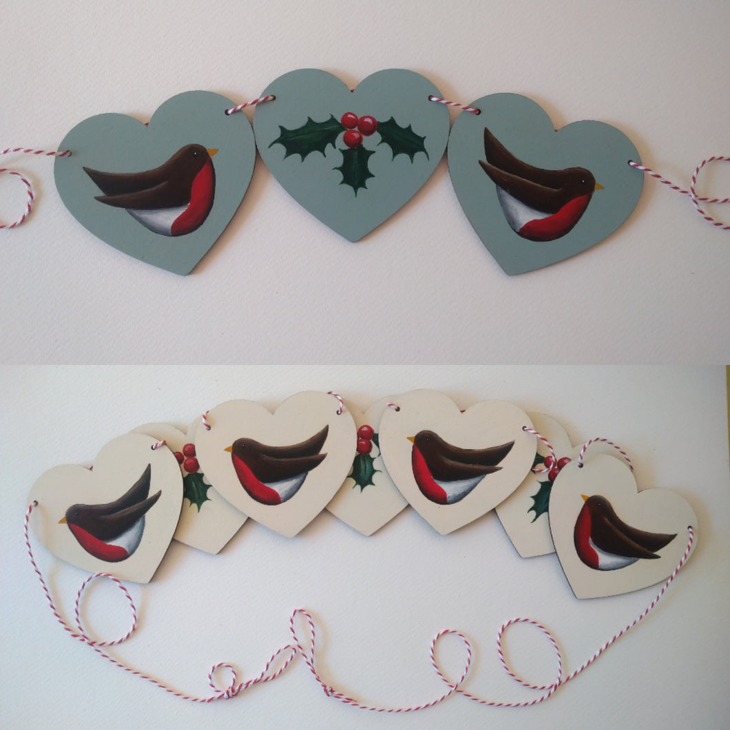 Robin and Holly Wooden Bunting by Primrose Cottage Designs