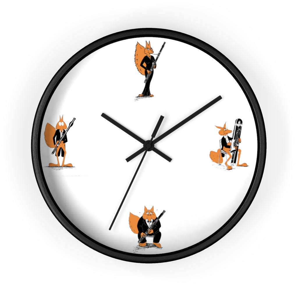 Bassoon Cartoon Fox Wall clock