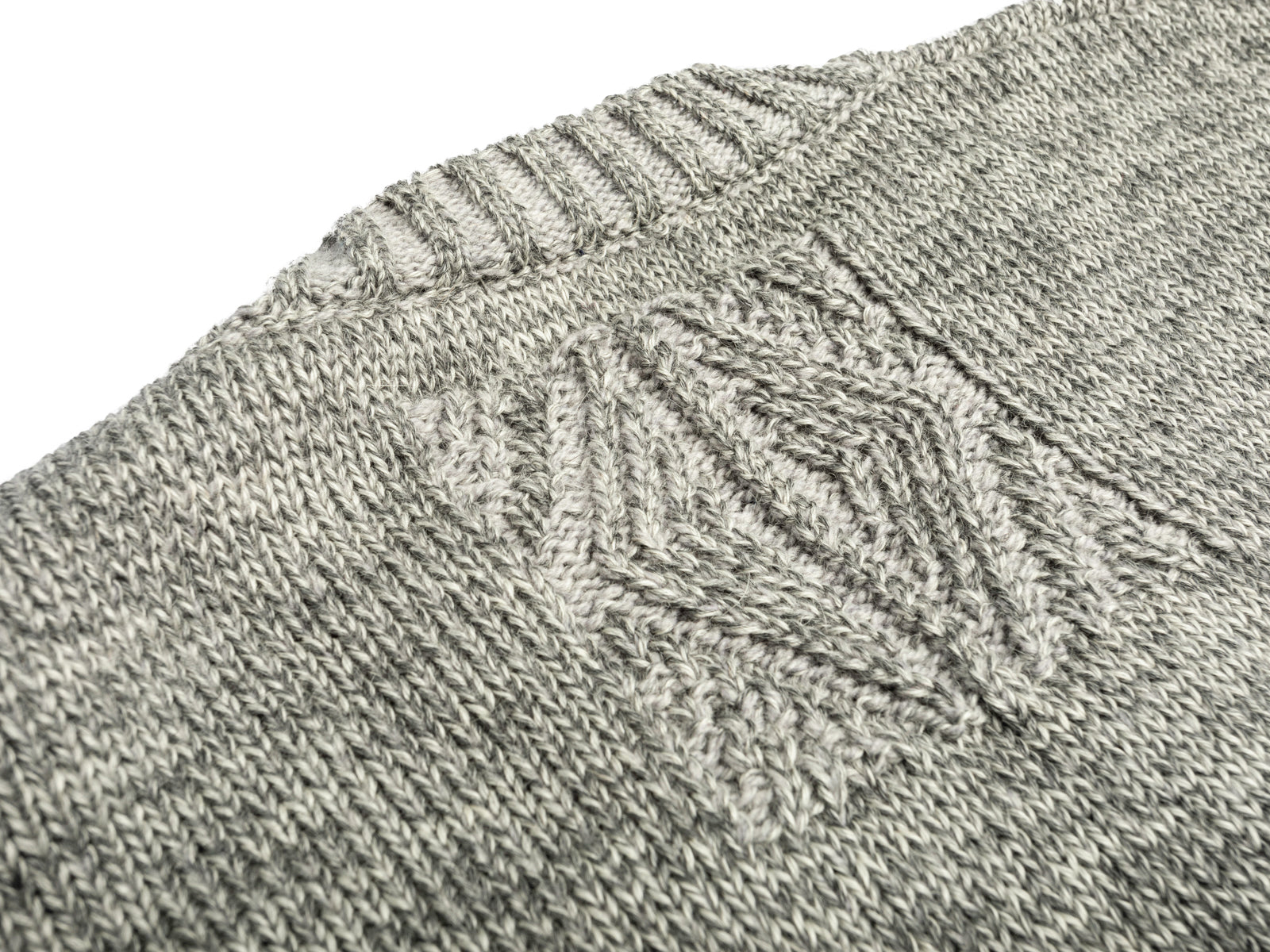 Lt Grey Melange Alpaca Blend High V-Neck Sweater