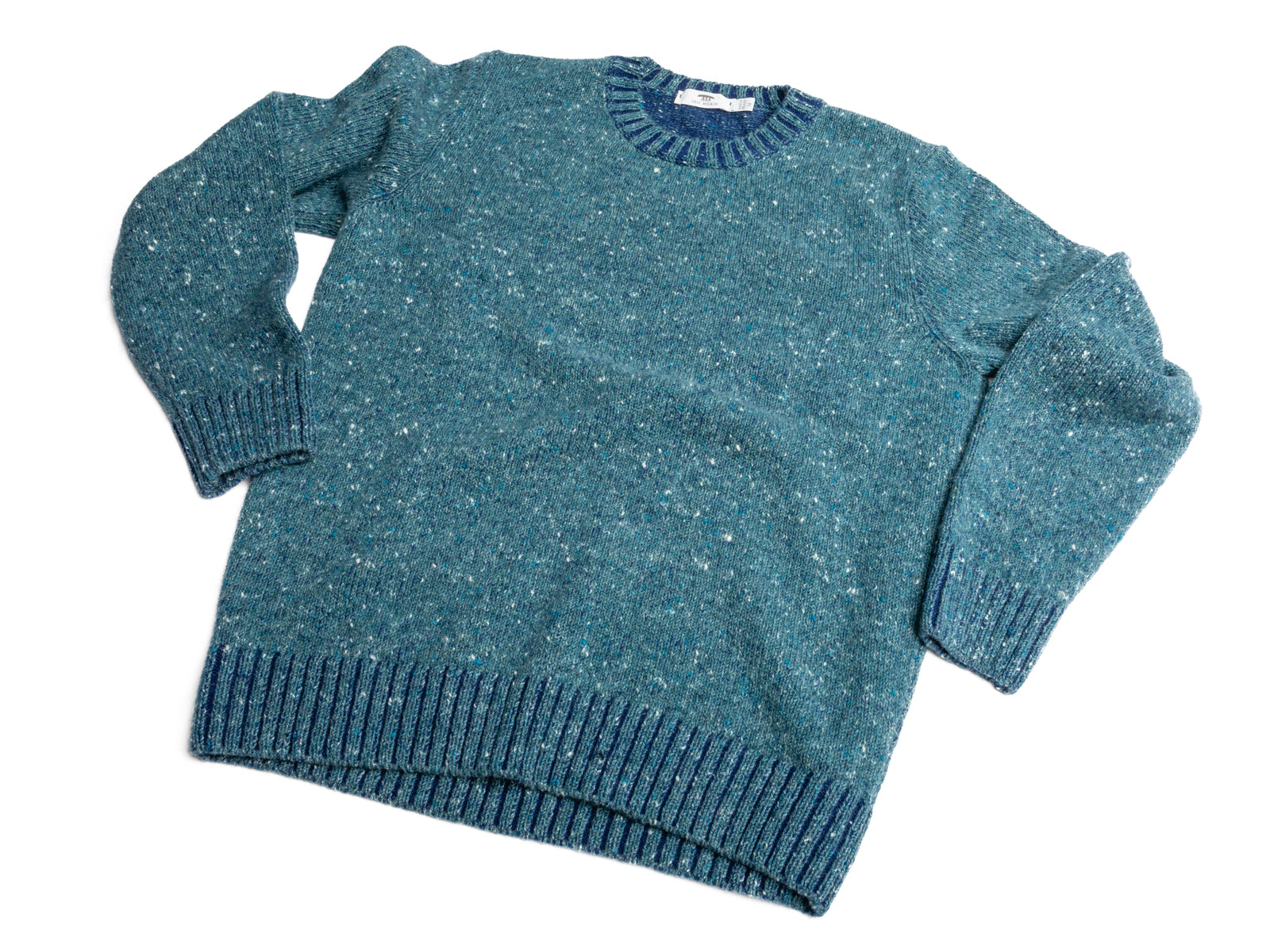 Seafoam Melange Cashmere Blend Donegal Crew Neck Sweater