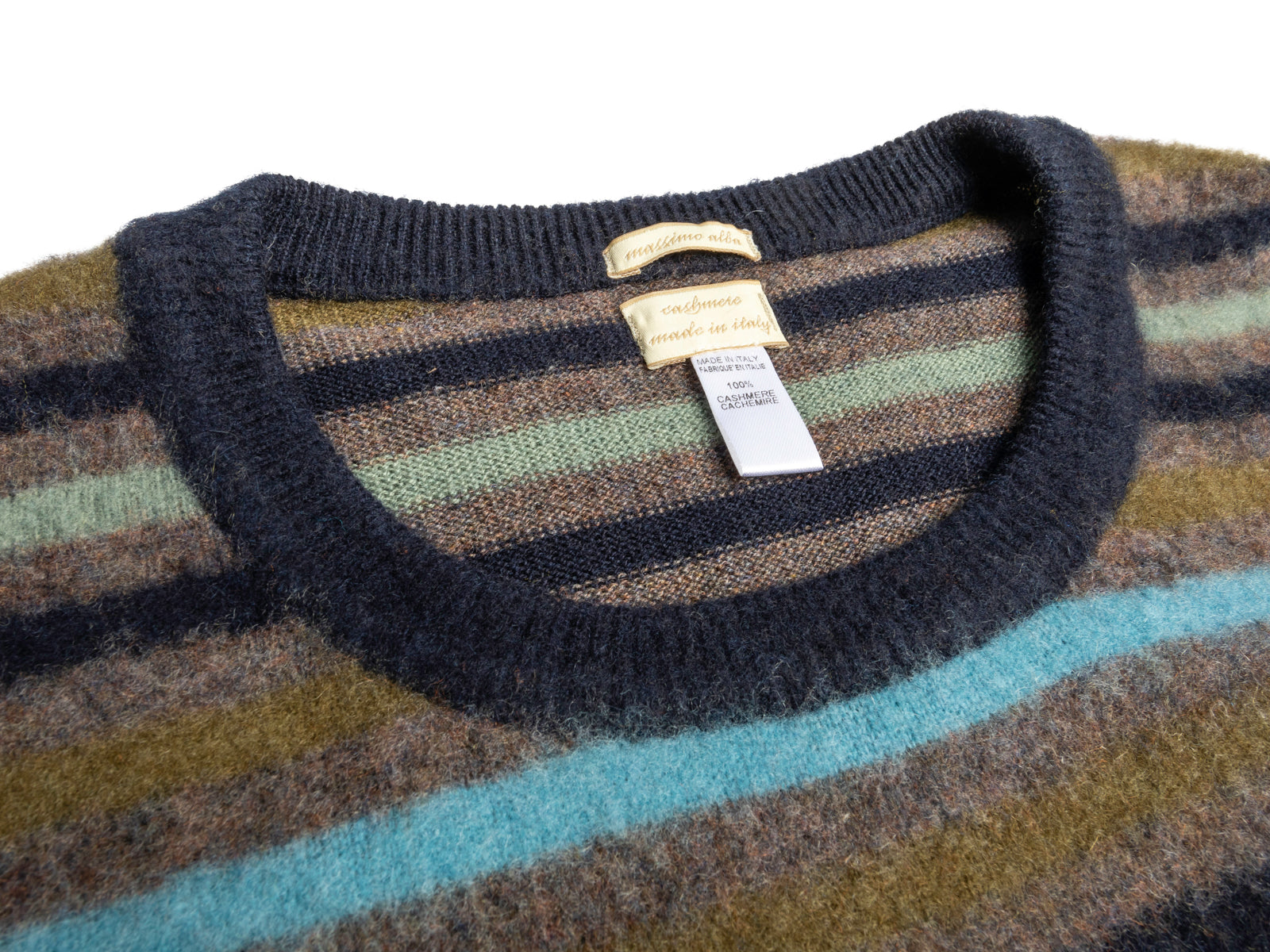 Brushed Cashmere Striped Crew
