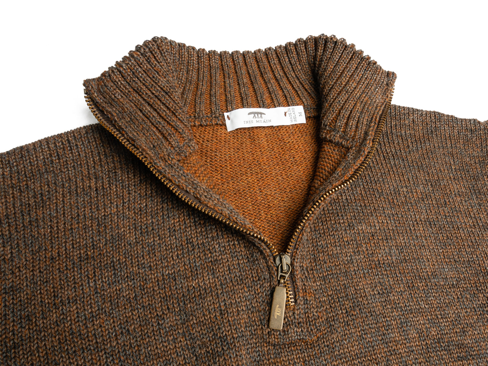 Brown Melange Alpaca Blend 1/4 Zip Mock Sweater