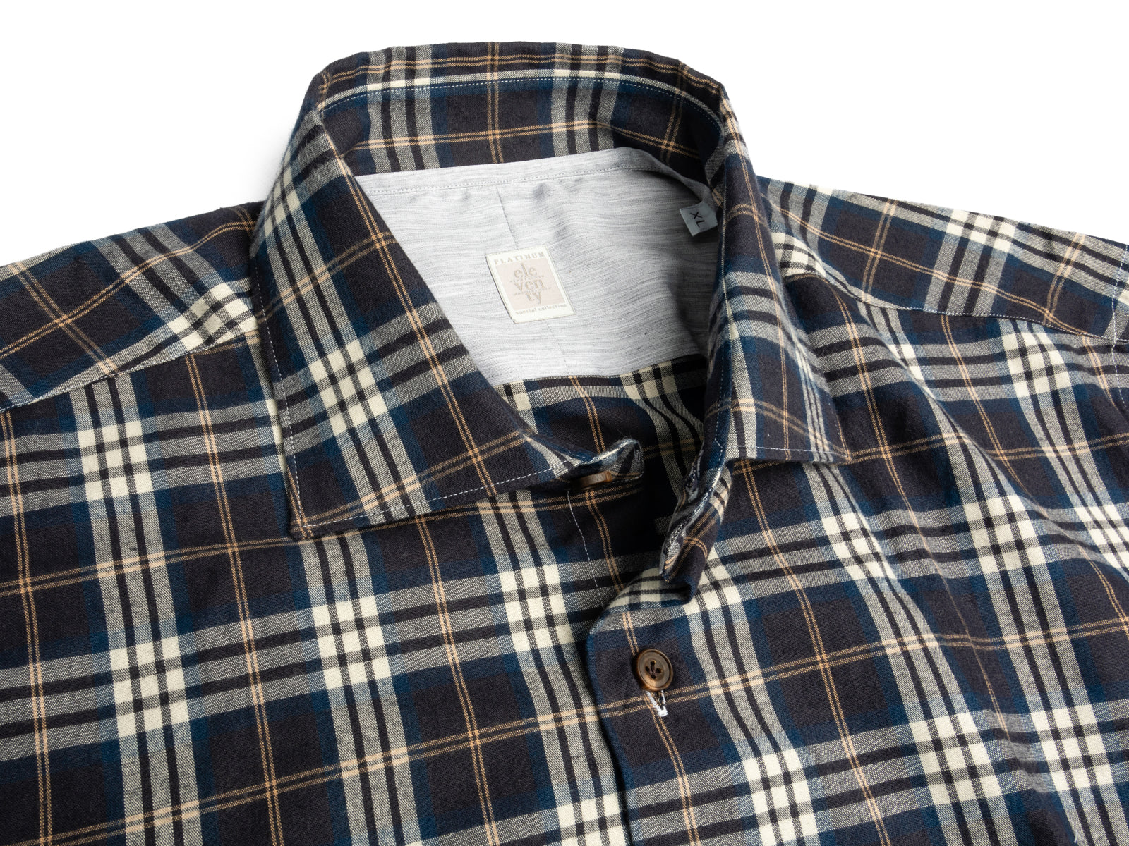 Navy Plaid with Camel in Brushed Twill